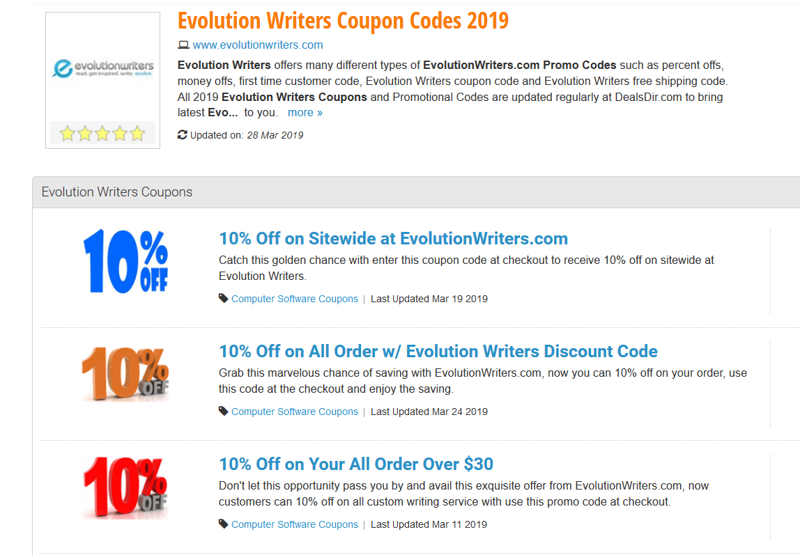 evolutionwriters discount