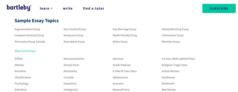 bartleby.com essay topics